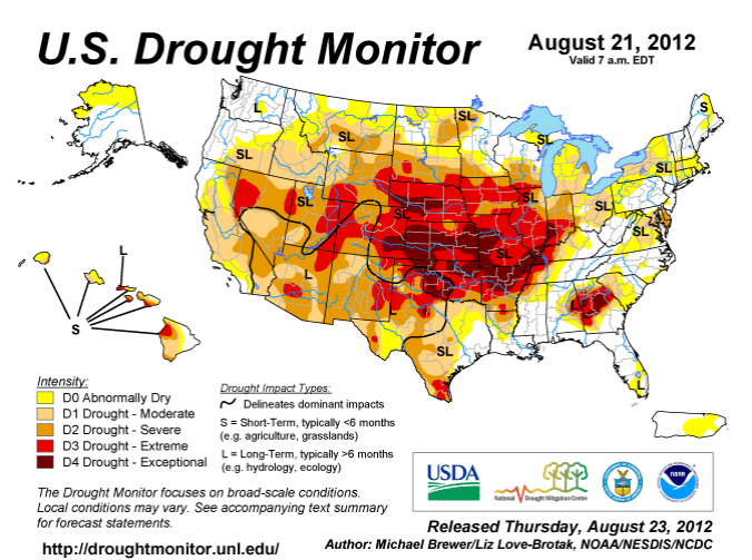 The 2012 U.S. drought had far-reaching effects across the country. (Image Credit: Drought Monitor)
